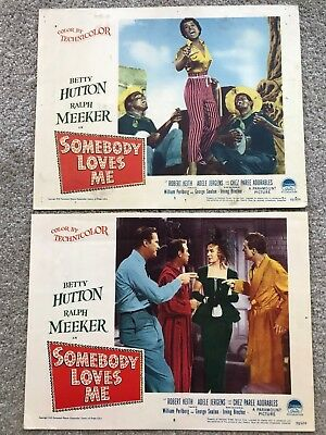 2 ORIGINAL LOBBY CARDS 11x14: Somebody Loves Me (1952) Betty Hutton Ralph Meeker