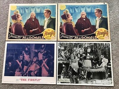 4 ORIGINAL LOBBY CARDS 11x14: Firefly (1937) Jeanette MacDonald, Allan Jones