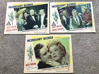 3 ORIGINAL LOBBY CARDS 11x14: Incendiary Blonde (1945) Betty Hutton