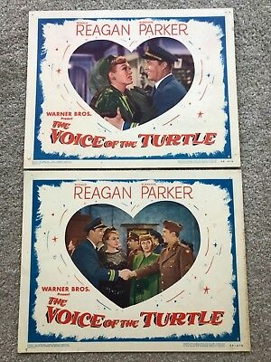 2 ORIGINAL LOBBY CARDS 11x14: The Voice of the Turtle (1947) Ronald Reagan