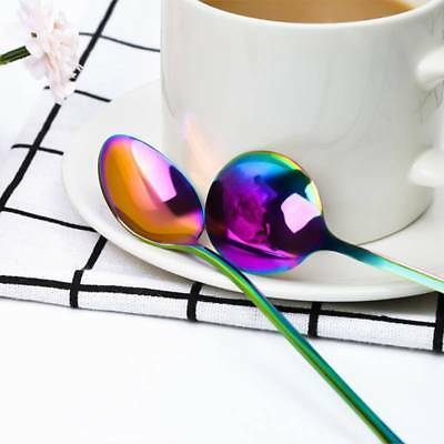 Rainbow Stainless Steel Spoons Kitchen Cutlery Multi-color Dessert Tableware