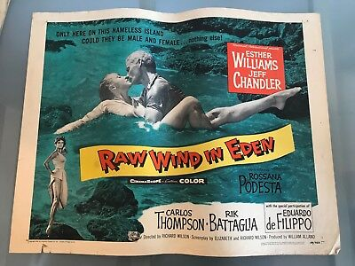 ORIGINAL HALF SHEET POSTER 22x28: Raw Wind in Eden (1958) Esther Williams