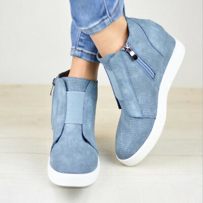 f267af9eec Mid Heel Ankle Boots Women Hidden Wedge Sneakers Trainers High Top Shoes  Size 10