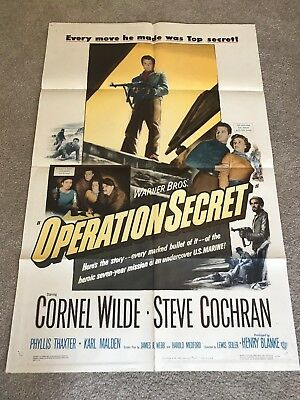 ORIGINAL 1-SHEET POSTER 27x41: Operation Secret (1952) Cornel Wilde