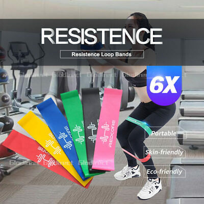 6 pcs Resistance Band Power Heavy Strength Exercise Fitness Gym Crossfit Yoga AU