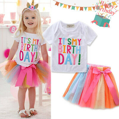 It's My Birthday Kid Girl Unicorn Colorful Tutu Skirt Party Dress Outfit Set UK