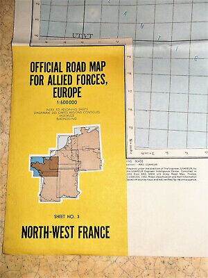 a) OFFICIAL ROAD MAP FOR ALLIED FORCES EUROPE (N°3) NORTH-WEST FRANCE (1953)