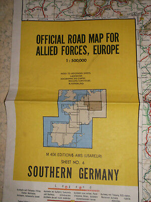 a) OFFICIAL ROAD MAP FOR ALLIED FORCES EUROPE (N°6) SOUTHERN GERMANY (1959)