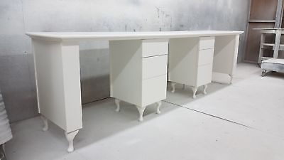 3 Person Manicure Desk - Shabby Chic supplied with glass top