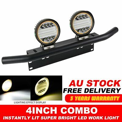 "23"" Black Number Plate Frame Mount Bracket +4inch Round CREE LED Work Light Bar"