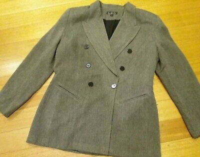 Black White Grey Jacket Blazer Coat 14 L Vintage Double-breasted Suit Trench