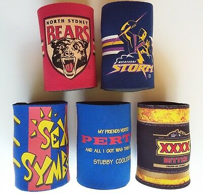 5x Stubby Holder Beer Can Bottle Drinks Cooler Collectible Give-aways Gift
