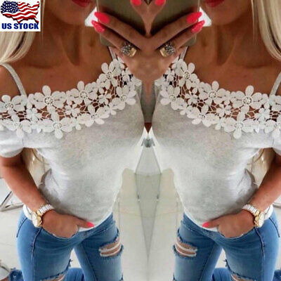 Women Off Shoulder Lace Short Sleeve T-Shirt Blouse Summer Casual Tops Blouse US
