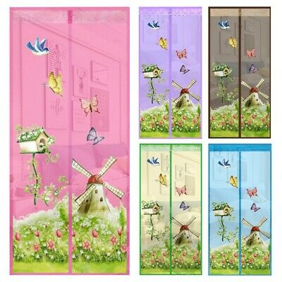 Magnetic Mesh Net Anti Mosquito Insect Fly Bug Curtain Magic Door Screen Floral