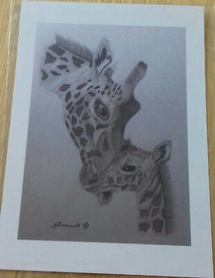 GIRAFFE & CALF PICTURE Unique A5 print of Original Art Drawing Gift WILD ANIMAL