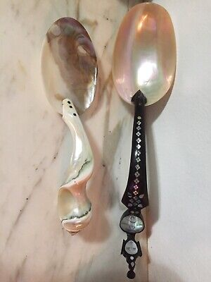 antique chinese cloisonne Mother Of Pearl 2 Big Spoon