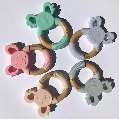 Baby Koala - Silicone & Wooden Teether / Teething Ring (5 Different Colours)