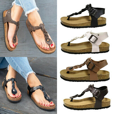 b2c7d53cc Ladies  Women Braided Roman Gladiator Flat Sandal T-Strap Thong Casual  Sandals