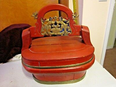 Asian Antique Wedding Basket w/Carved Men Red Lacquer & Gilded & Brass Trim