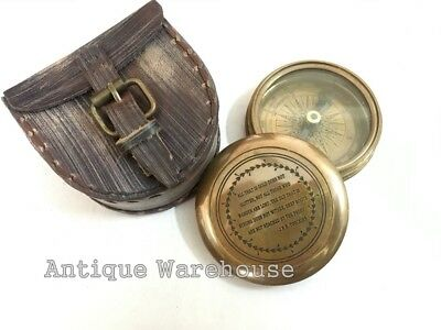 Collectible Antique Brass Working Compass With Leather Case Marine Gift