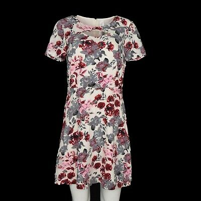 2934efd1ba4 Kensie Womens Short Sleeve Floral Cut Out A-Line Dress Size M Pink Floral  NWT