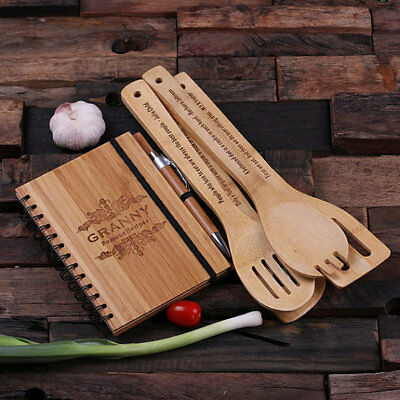 Personalized Bamboo Recipe Notebook, Wooden Pen and 4pc Kitchen Utensils Set