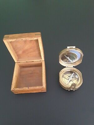 Vintage Nautical Ships Brass Compass. in Crafted Wooden Box.