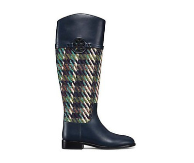67d3b56a9 Tory Burch Miller Riding Boot Tweed Bright Navy Green Dogtooth Size 7  568  NIB