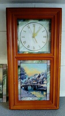 Thomas Kinkade Wall Clock and 3 glass panels Spring autumn summer and winter.