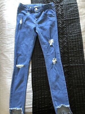 Distressed  Blue Denim Jeans Girls Size 9 In Excellent Condition
