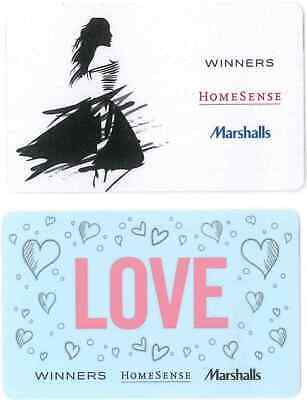 2 Gift Cards: Winners/Homesense/Marshalls (Canada) New Issues, great cards! $0