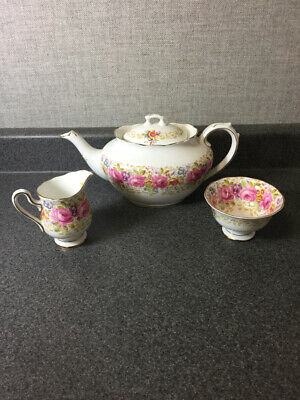 Royal Albert Serena Tea Pot, Creamer, Open Sugar EUC