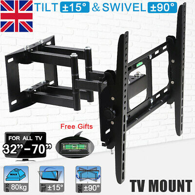"Double Arms TV Wall Bracket Mount Swivel Tilt for 32 40 43 49 50 55 60 70"" inch"