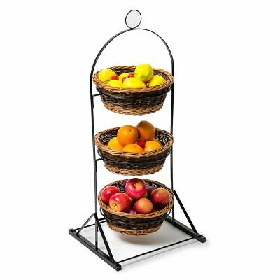 Three Tier Floor Stand with Dark Round Wicker Baskets