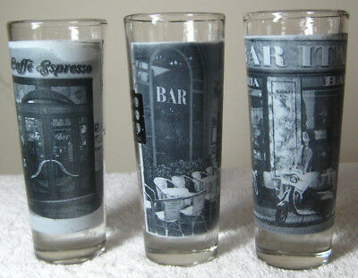 Set of 3 Cerve Tall Shooter Shotglasses Cafeteria Bar Cafe Scenes Made in Italy