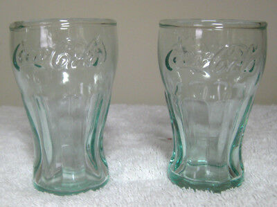 """Pair of 3"""" Glass Coca-Cola Shooter Shotglasses Vintage Diner Style Green Tint"""
