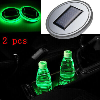 Interior Accessories Smart Car Solar Cup Holder Bottom Pad Led Light Cover Trim Atmosphere Lamp Light White