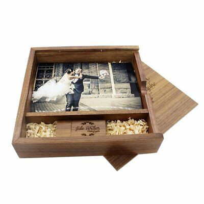 velvet Wooden Photo Album USB Flash Drive Memorable Wedding Photography Gift AZ