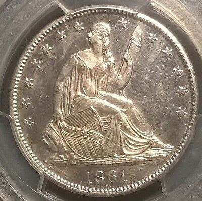 1861-O Seated Liberty Half Dollar  PCGS WB-103 AU Details  Bisected Date  RARE!