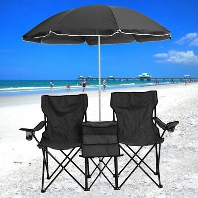 Picnic Double Folding Chair w Umbrella Table Cooler Fold Up Beach C&ing Chair  sc 1 st  PicClick & PICNIC DOUBLE FOLDING Chair w Umbrella Table Cooler Fold Up Beach ...