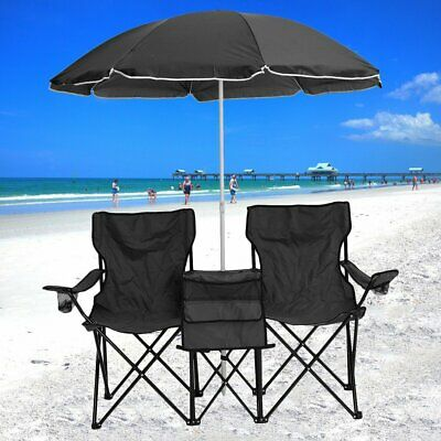 Pleasing Double Portable Folding Picnic Chair W Umbrella Table Cooler Gmtry Best Dining Table And Chair Ideas Images Gmtryco