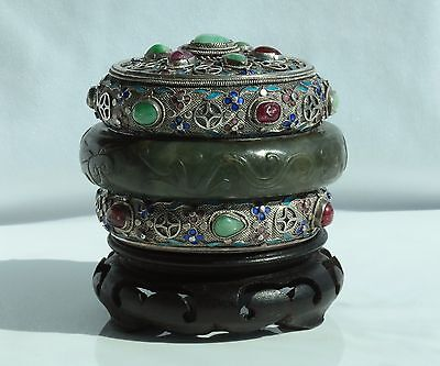 Rare Antique Chinese Green Nephrite Jade Bangle Enameled jeweled Silver Box