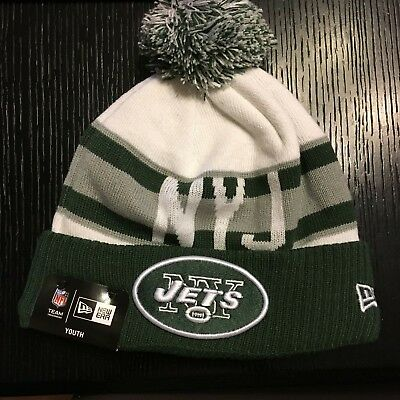 8469ffe01fa New York Jets New Era Retro Cuffed Knit Hat With Pom – White Green YOUTH