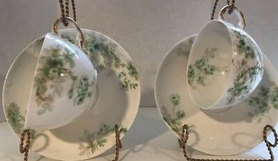 Pair of Antique Theodore Haviland Limoges France Tea Cups & Saucers