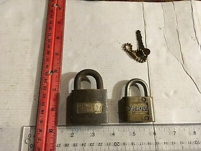 2 - Vintage Brass Sargent Padlock Locks, One With Key, One Without