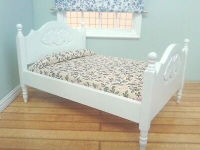 Dolls House Furniture: White Wooden Double Bed  in 12th scale