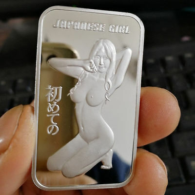 Sexy Hot Naked Japanese girl, 1 Troy oz .999 Solid Fine Silver Bullion Bar. New!
