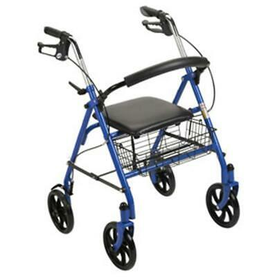 NEW DRIVE MEDICAL 6VC3ze1 1 EA 10257BL-1 Durable 4-Wheel Rollator with Fold-Up