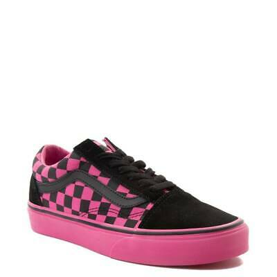 31d91735fa58 NEW VANS OLD Skool Chex Platform Skate Shoe Black White Pink 1.5 ...