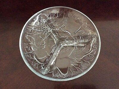 Tri-Sectional Divided Relish Dish Indiana Glass Embossed Fruit